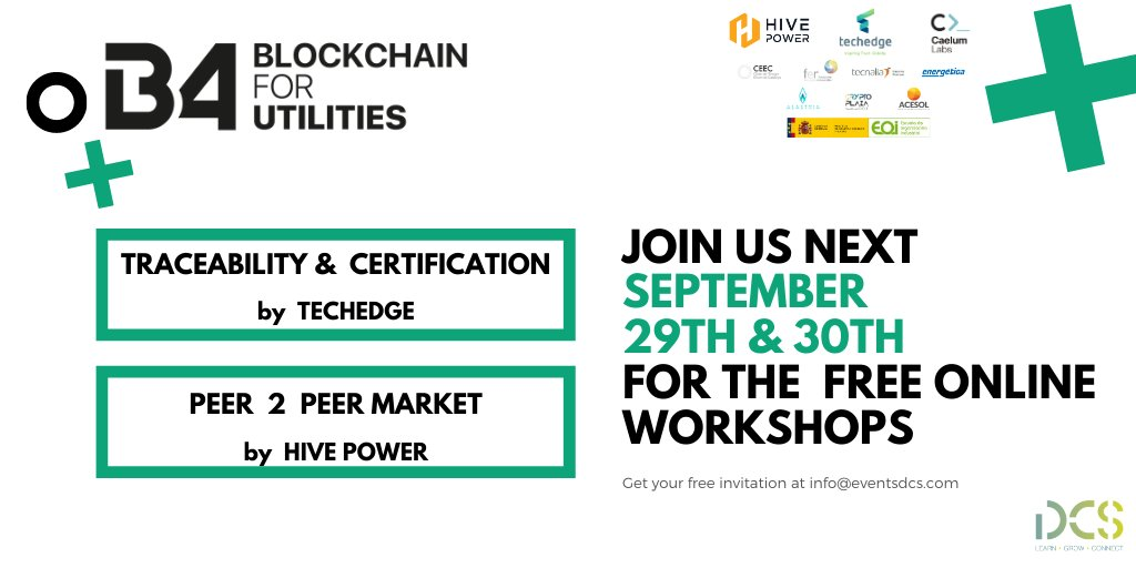 👀 Do you want to learn more about the use cases of blockchain technology applied to the utility sector? Join us next Tuesday & Wednesday for the free online workshops  🔥 Get your free invitation at info@eventsdcs.com https://t.co/UwADnNW0Pz