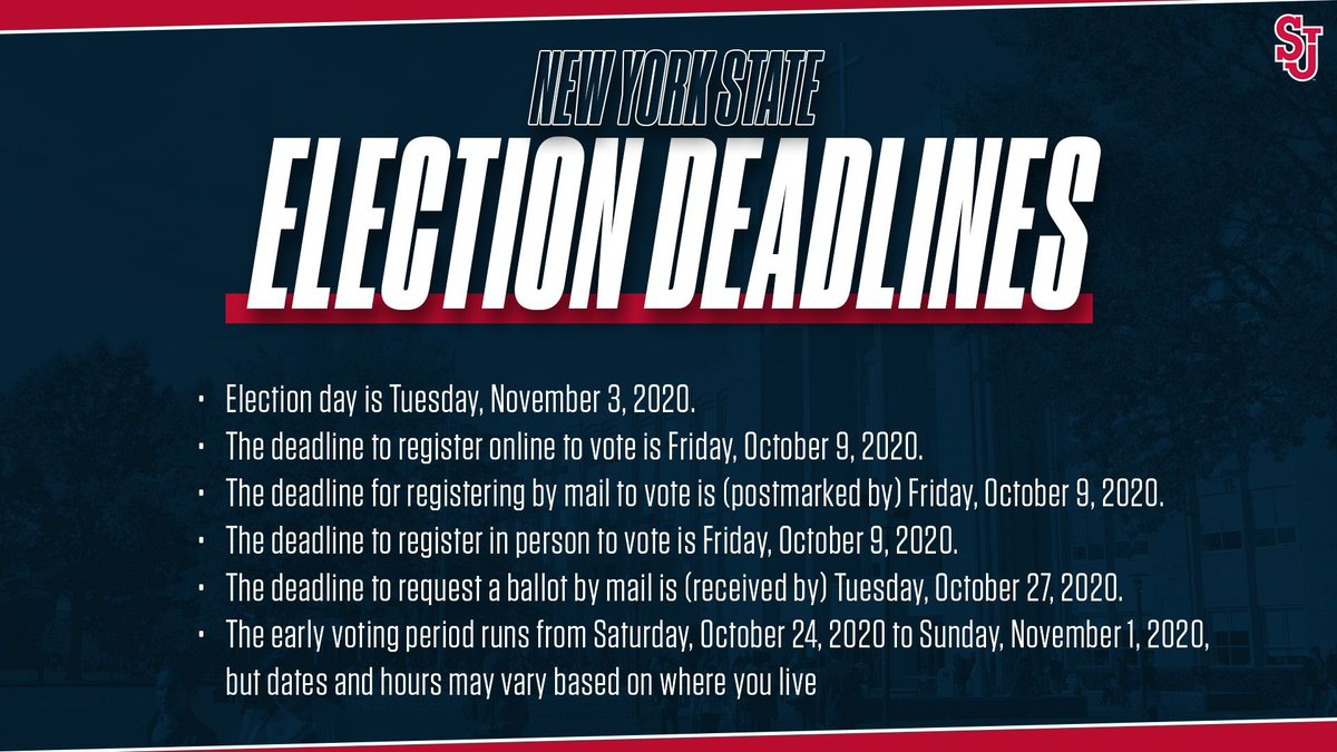 It's National Voter Registration Day! And the second day of our SAAC Voting Education Week! Check out some important deadlines for NYS, and be sure to keep an eye out for more information on voting all week! #Vote #YourVoteIsYourVoice