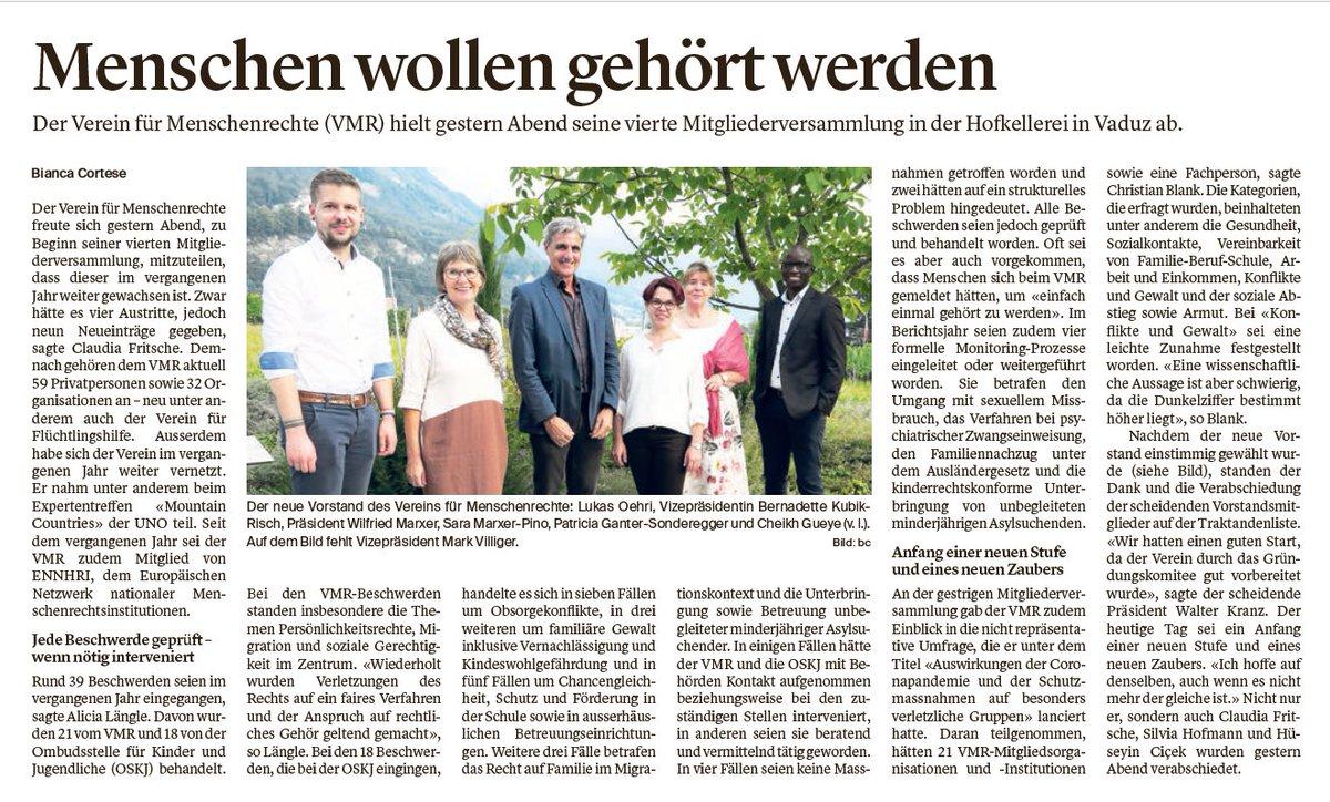 Am 21. September 2020 hielt der Verein für #Menschenrechte in #Liechtenstein seine 4. Mitgliederversammlung ab. @vaterlandnews berichtet bereits. Mehr Informationen und den Artikel als PDF gibts auf der VMR-Webseite: https://t.co/bN72ypEM11 https://t.co/YTgArQE0hD