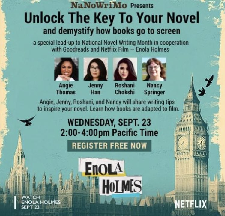 test Twitter Media - @NaNoWriMo event on this Weds to unlock the key to your novel and demystify book to screen. @angiecthomas @jennyhan   And other great writers. With support from @Netflix and @goodreads https://t.co/XGbuoYeFme