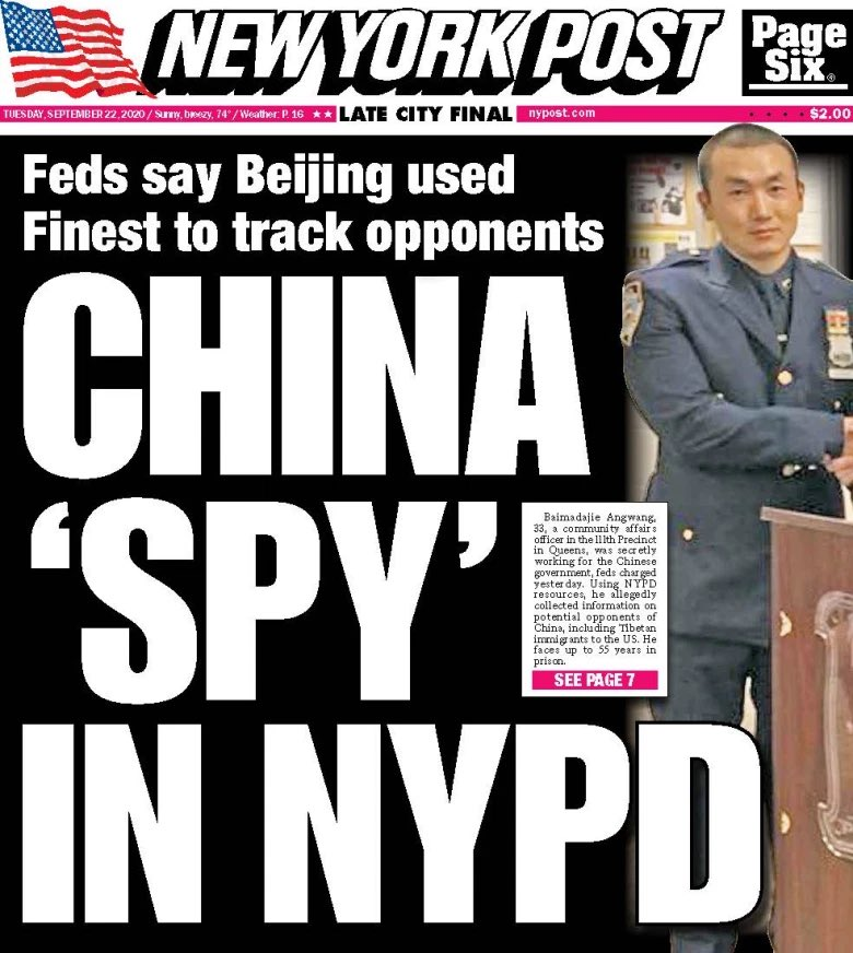 The saddest things about the Chinese spy in the NYPD scandal? The guy is ethnically Tibetan & spied on Tibetan activists for the Chinese government *and* lied to obtain U.S. citizenship by claiming asylum, falsely claiming he was arrested & tortured in China - for being Tibetan. https://t.co/Onkp1MIDU1