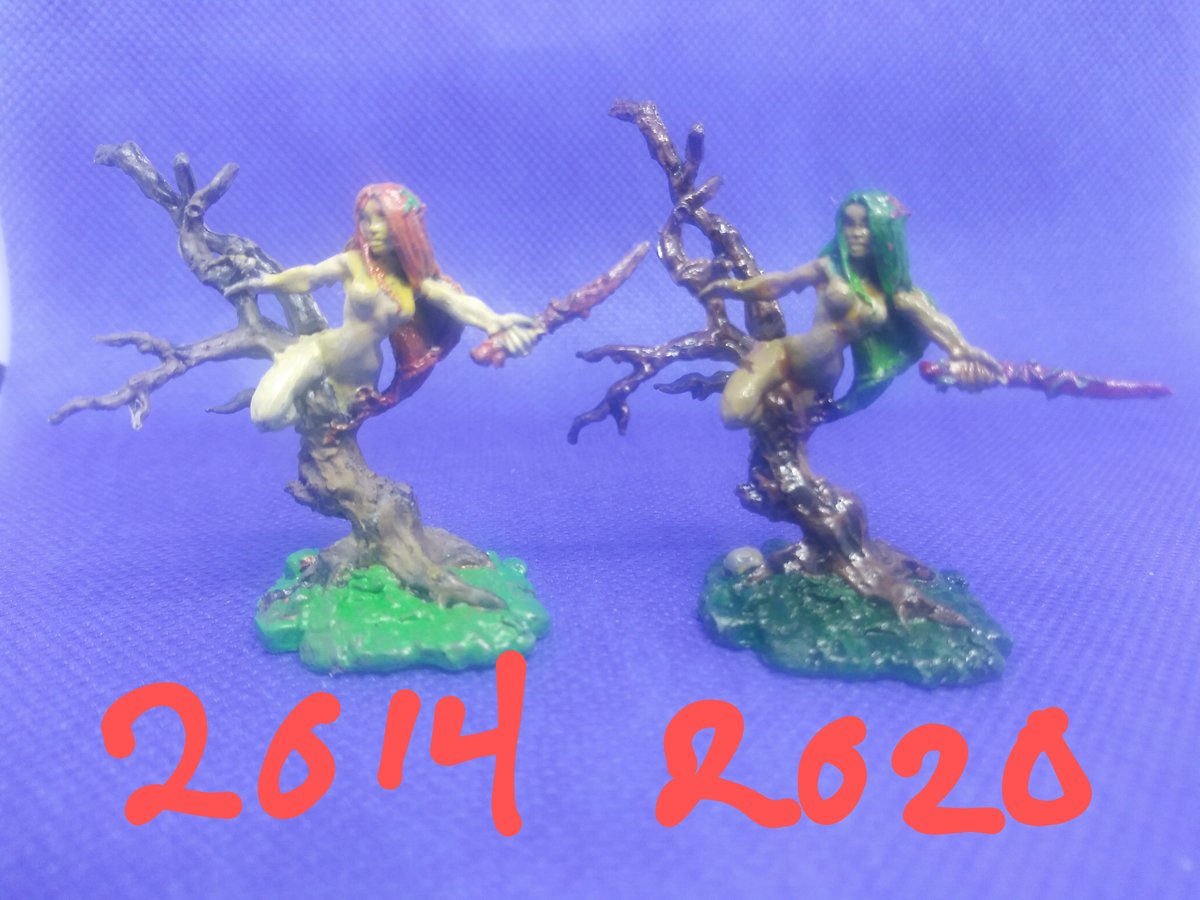 Dryad painted in 2014 and same model painted in 2020  by @reapermini 2014  artist: W Klocke  #minis #miniature #miniatures #miniaturepainting #wargames #wargaming #tabletopgames #dnd #dungeonsanddragons #dndminiatures #fantasy #dungeonmaster #reaper #dryad #reaperminiatures https://t.co/F1YBxqL7jI