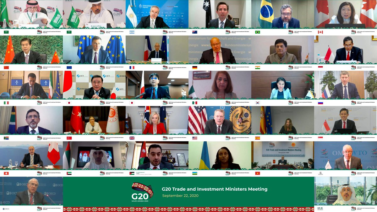 #G20 Trade and Investment Ministers concluded their meeting under the #G20SaudiArabia Presidency on September 22, 2020, with a communiqué to further strengthen G20 trade and investment cooperation. Communiqué: g20.org/en/media/Docum…
