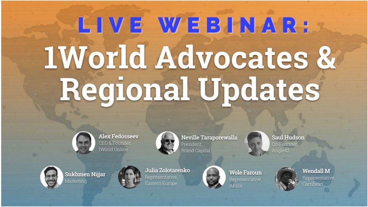It's not too late to register for the @1World_Online Advocates & Regional Updates Webinar on September 24, 2020 at 12 PM ET. Partners will discuss the state of the industry, recent progress & outlook for future https://t.co/pHf0W1RA3m #Republic #investor #updates #startup #adtech https://t.co/mW410R6ffY