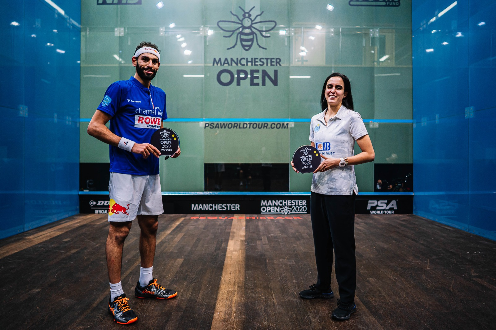 Mohamed ElShorbagy and Nour El Tayeb pose with the 2020 Manchester Open trophies
