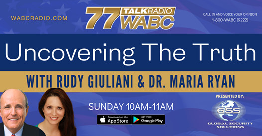 .@RudyGiuliani and @MariaRyanNH are 'Uncovering the Truth' Every Sunday at 10AM. Join the conversation! Available on the 77 WABC app.  Brought to you by Global Security Solutions, New York's Premier Security Firm - https://t.co/lSSg07ex21 https://t.co/22PQs1PHMC