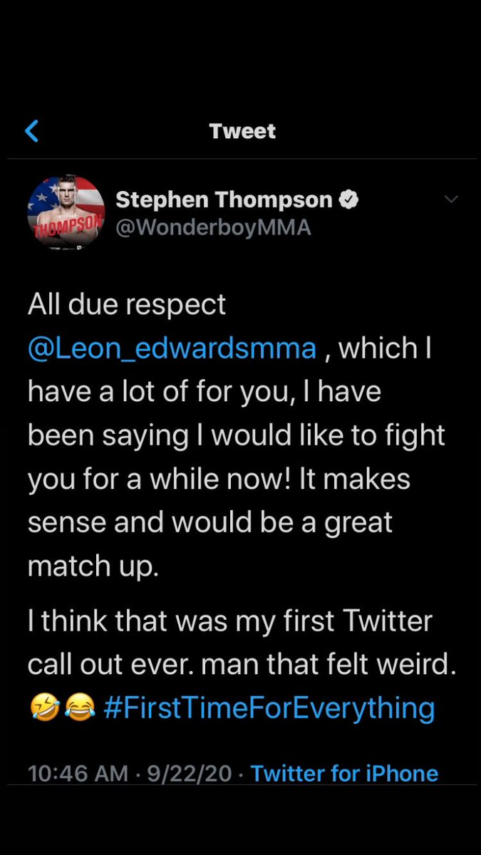 "◼️MMA News: UFC Fan Favorite Stephen ""Wonderboy"" Thompson (@wonderboymma) calls for a fight with Leon Edwards (@leon_edwardsmma) making this Wonderboys VERY 1ST TWITTER CALL OUT!!!   #MMA #MMATwitter #UFC #UFC253 #UFC254 #Wrestling #Kickboxing #MuayThai #Judo #Boxing #PureEVilMMA https://t.co/NlnEhk7VU4"