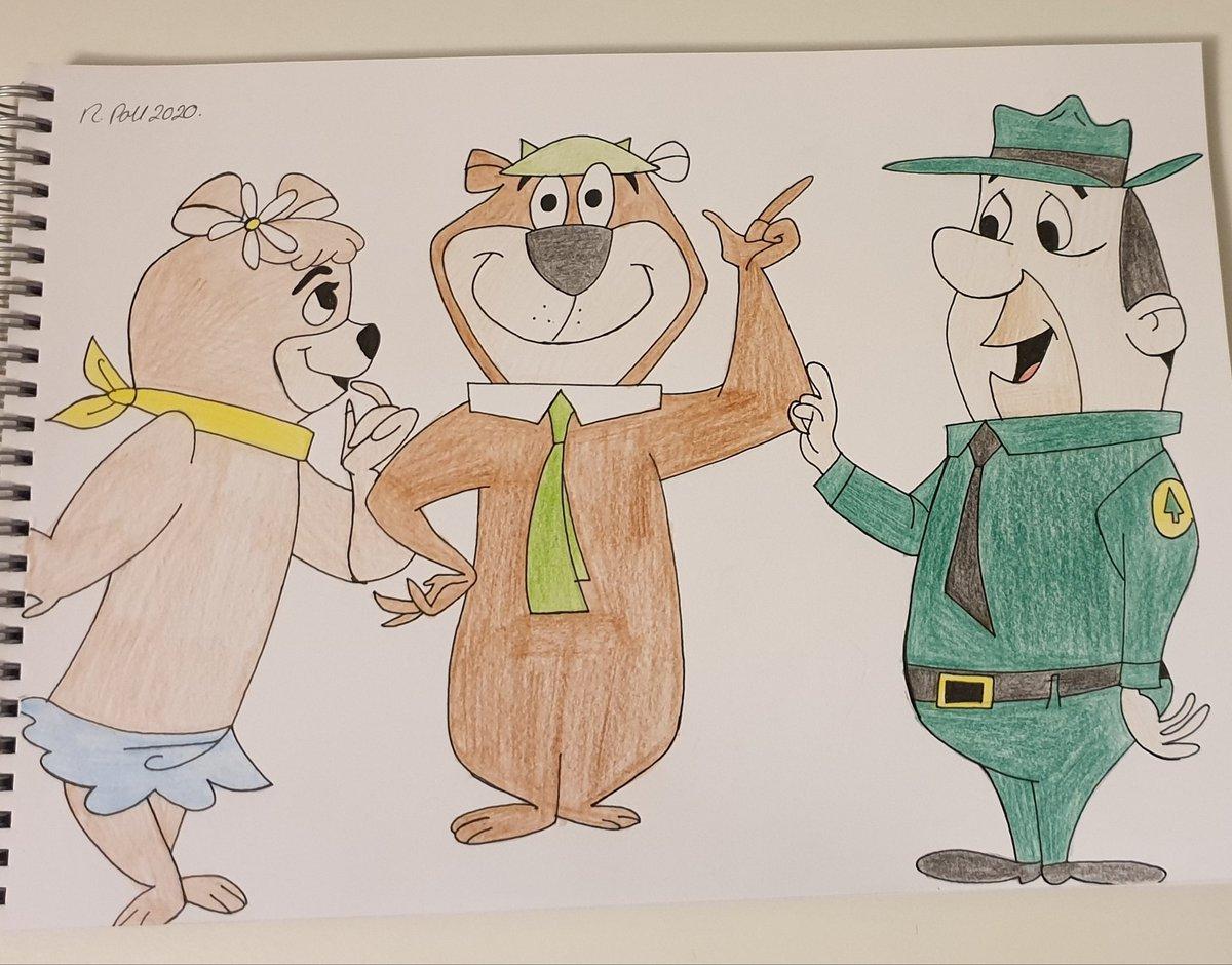 YOGI and friends, nice old school cartoon l.   #beckysartwork7 #cartoonart #yogibear #artistsoninstagram #illustratorart #pencilsketch #sketchpadart #ınstaartist #artist #ınstaillustrator https://t.co/Qn2koixm7R