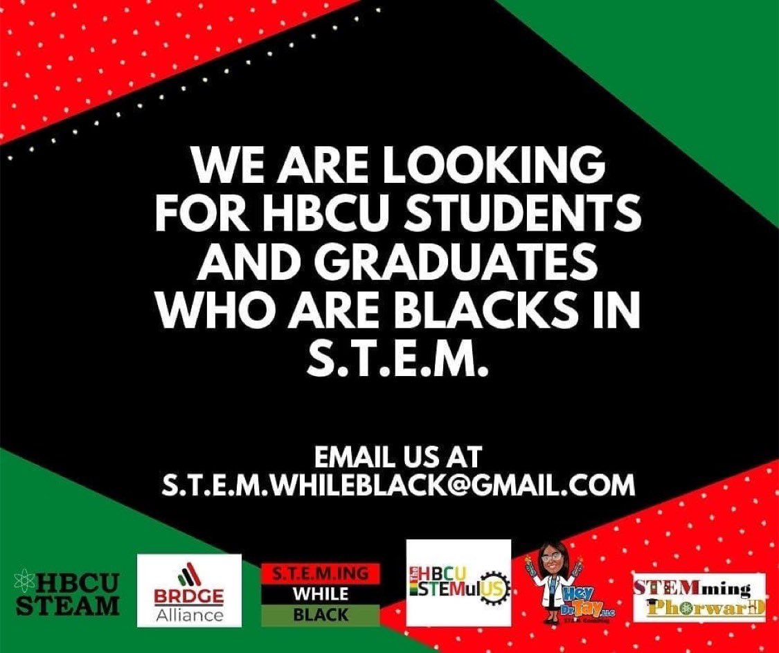 Repost from @thehbcustemulus • 📣 Calling all HBCU STEM students and HBCU STEM graduates! We are planning something big and we could use your help.   Such as honor to collaborate with other organizations!   Deadline is October 1st!  #HBCUSTEM #hbcugrad #hbcupride #blackinstem https://t.co/3SI9kz9lJF