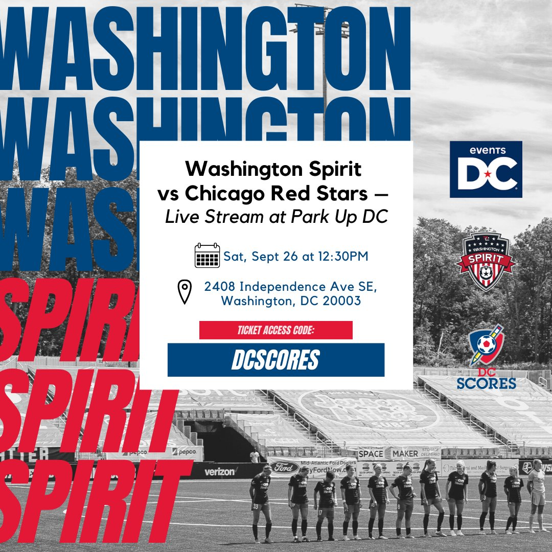 Cheer on the @WashSpirit from your car this Saturday! ⚽️🔴🔵 Join us at Park Up DC for a one-of-a-kind drive-in theater experience for a Spirit watch party this Saturday, 9/26 at 12:30pm! RESERVE YOUR SPOT: bit.ly/spiritdrivein