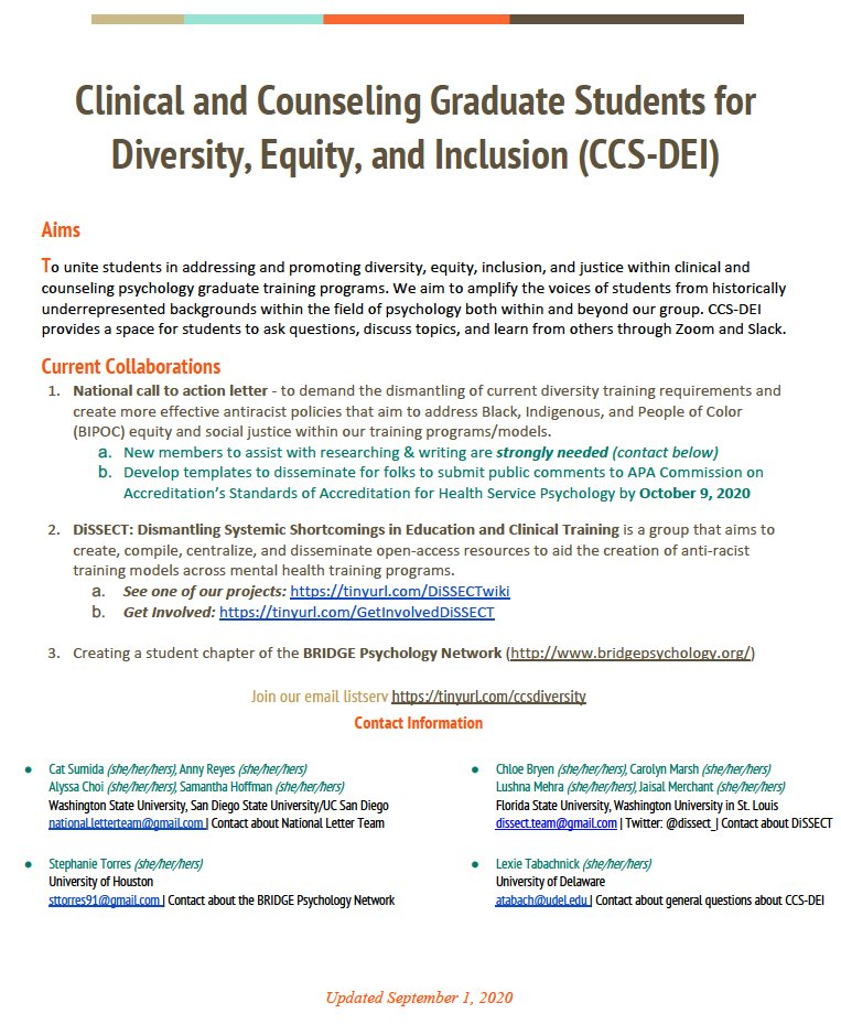 The Clinical and Counseling Graduate Students for Diversity, Equity, & Inclusion (CCS-DEI) is a newly formed student-led national committee focused on addressing & promoting diversity, equity, inclusion, & justice within clinical & counseling psychology graduate training programs https://t.co/XZoIMdpnXV