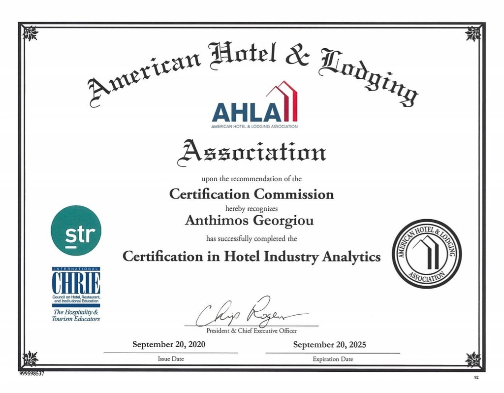 Just #received my #certificate after an #8hour #seminar and #testing in  #hotel #industry #analytics by the #str #ahla #smithtravelresearch #americanhotel #lodging #associaton and #chrie  #asset #management #assetmanagement #adr #revpar #occupancy #hostr… https://t.co/BqrAJP36WI https://t.co/e4CUQ5z3dO