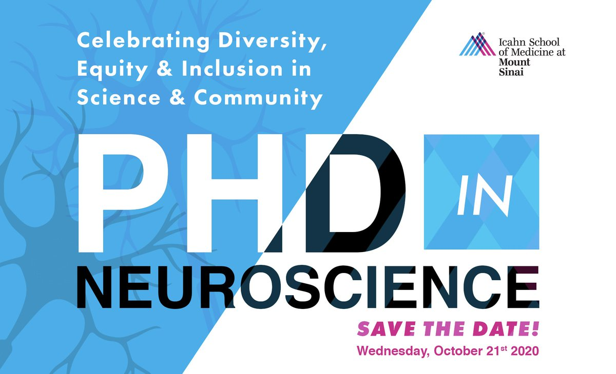 "REGISTER NOW! ""Celebrating Diversity Equity & Inclusion in Science & Community"" Oct 21st 1-4pm! A unique/interactive program presented by our faculty/students about the Neuroscience PhD program at @GradSchoolSinai.👉https://t.co/vKcng3AyZi #BlackInSTEM #LatinxInSTEM #LGBTinSTEM https://t.co/EDT0FgUDHb"