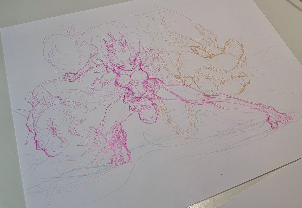 It's #peach week now, barbarian armor peach is number 2  I havent drawn landscape in like a year  #pencilsketch #wip https://t.co/bClO3oUxfP