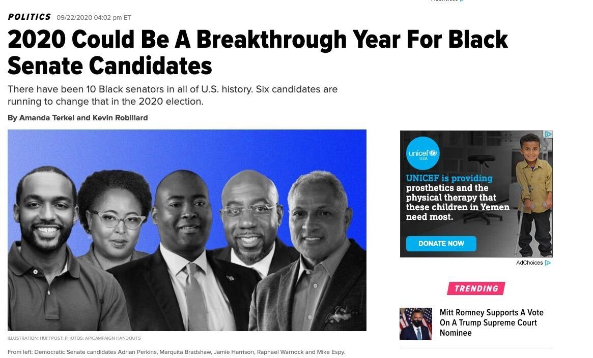 HuffPo decided to do a story on black Senate candidates  Not pictured: Republican John James https://t.co/GAV3lPy2aZ