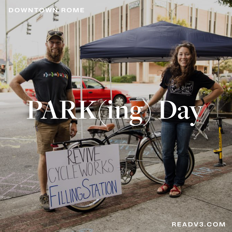 """Park(ing) Day – Downtown Rome  https://t.co/VFdKt1liNh  PARK(ing) Day is an annual, global event where businesses, artists, and activists collaborate to transform parking spaces into """"PARK(ing)"""" spaces: temporary public places.  #DowntownRome #ParkingDay #Rome #V3 #ReadV3 https://t.co/IvqE0N8ZbA"""