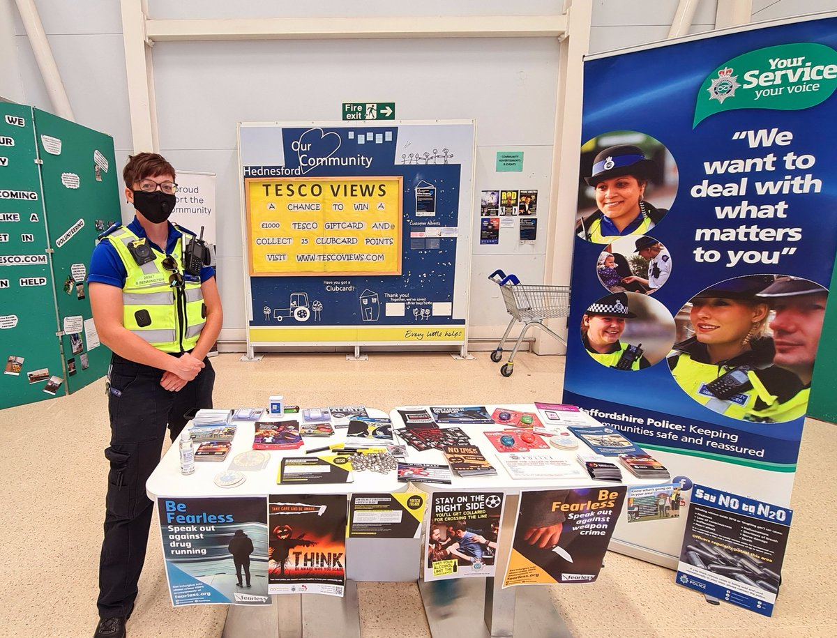 Come and see us at Tesco Hednesford 👮 we will be giving advice on community safety, harm reduction and current ongoing police operations within Staffordshire Police 🚔 Positive response so far 👍 https://t.co/xdcJlTnOj5