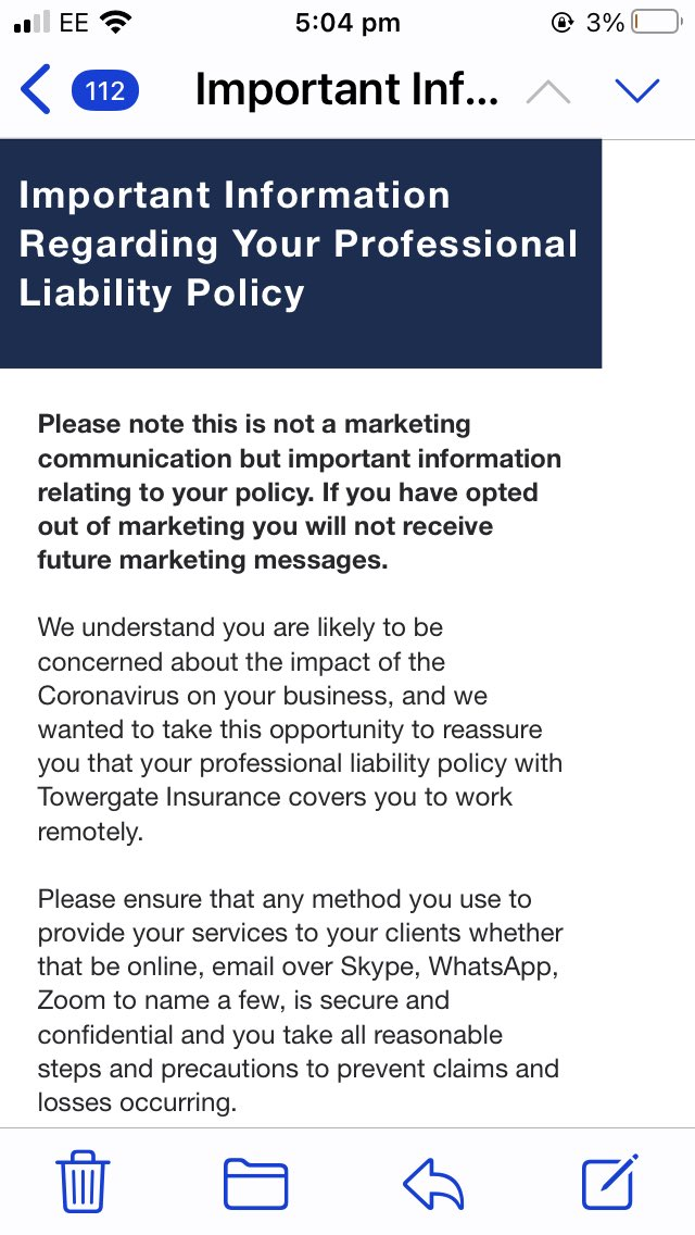Well that's good news! Seems like the world  of professional indemnity insurance has made the leap to recognise that #Mediators are now taking their business online. #onlinemediation #insurance #smallprint https://t.co/O1lVTRh8Ut