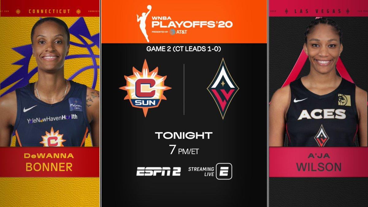 #WNBA Playoffs coverage continues tonight on ESPN2  7p ET   @ConnecticutSun vs @LVAces  On the call: Pam Ward, @LaChinaRobinson & @sportsiren https://t.co/kZ5QVEuLJa