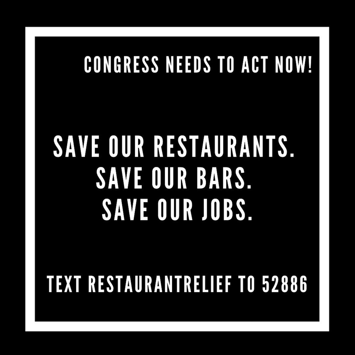 Restaurants both small and large, are the cornerstone of our communities. They connect people, provide job opportunities, and have been key players for giving back and supporting those in need. Let your voices be heard, tell Congress to ACT NOW #saveourrestaurants https://t.co/ITRMR4XcQX