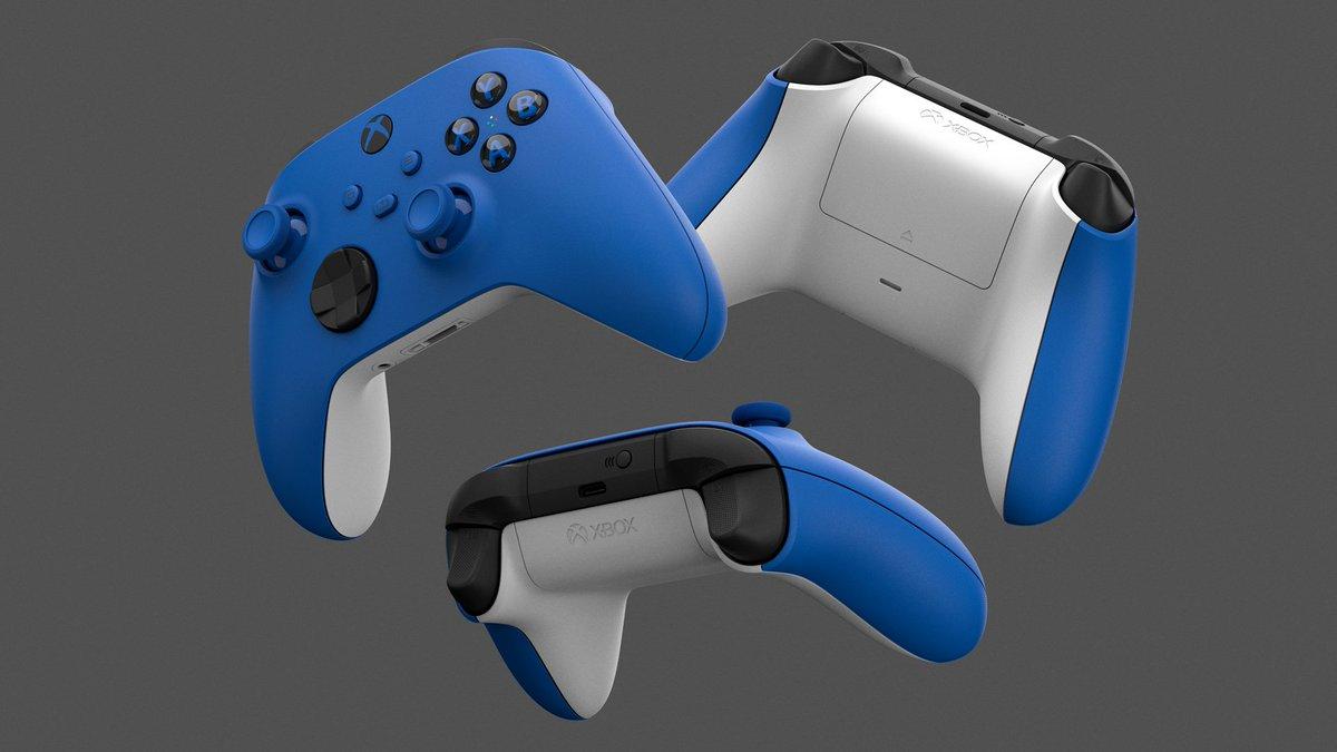 Immediato e dalla linee pulite. Ma sempre iconico. Il nuovo controller wireless Xbox in shock blue è splendidamente ottimizzato per il gameplay next gen 🔵 https://t.co/sMp7Bxvvtu https://t.co/DHCWIComFT