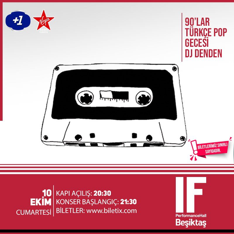 Dj Denden'le 90'lar Türkçe Pop Gecesi, 10 Ekim Cumartesi @IfBesiktas sahnesinde. Sınırlı sayıda biletler kapıda ve Biletix'te! https://t.co/Yv7h36bqeG