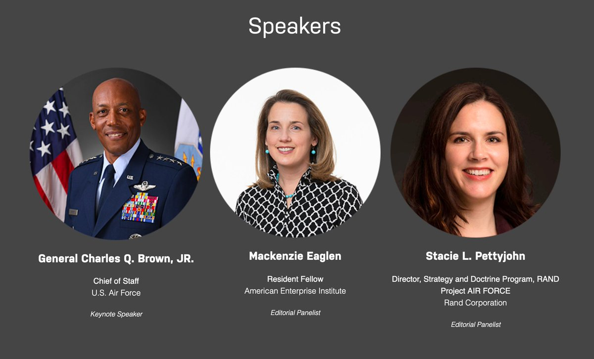 """JOIN US TODAY @ 2 P.M. ET when our """"State of Defense"""" series continues with a live interview featuring U.S. Air Force Chief of Staff @GenCQBrownJr.  We'll follow that with a panel discussion feat. @MEaglen and @StaciePettyjohn.  Register here: https://t.co/rQUJGKWmUq https://t.co/ejI0Ny6zSo"""