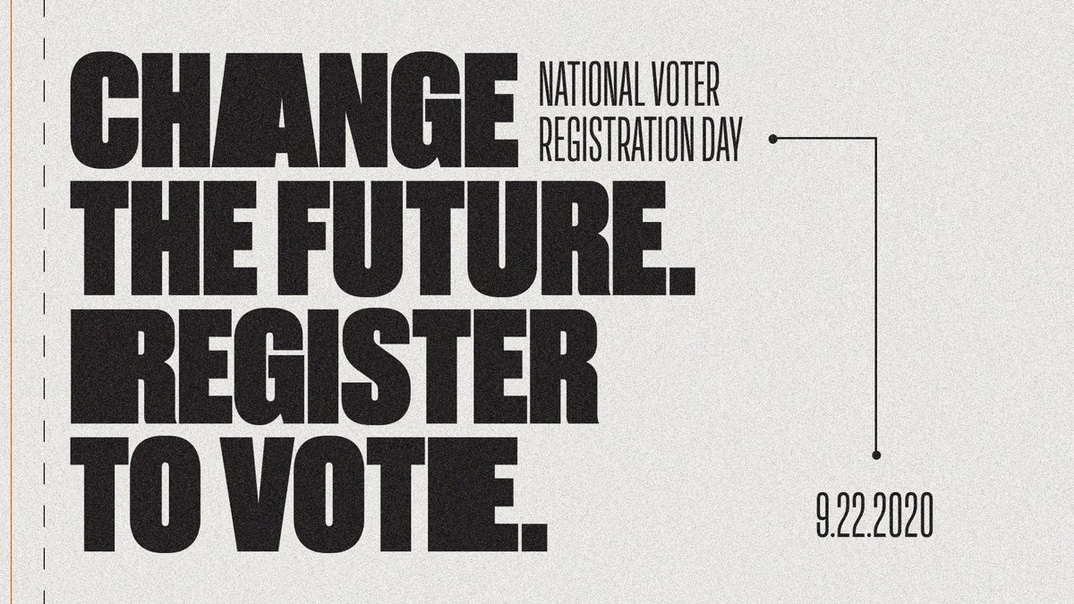 #NationalVoterRegistrationDay is our chance for change. Let's make this count. Register at https://t.co/IuhYAhh3pS https://t.co/fUl6QSPoZR