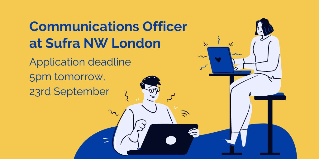 It's just under 24h until the application deadline for our vacant Comms Officer role at Sufra. Interested? Don't miss out! Full info here: https://t.co/Mch468HlzS We'd love to welcome you to our team! #wearehiring https://t.co/Y6vyXR74wY