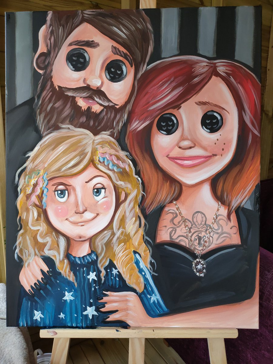 Thegirlwhodidthething On Twitter Neilhimself I Just Finished This Family Portrait Of Me My Husband And Our Daughter Coraline