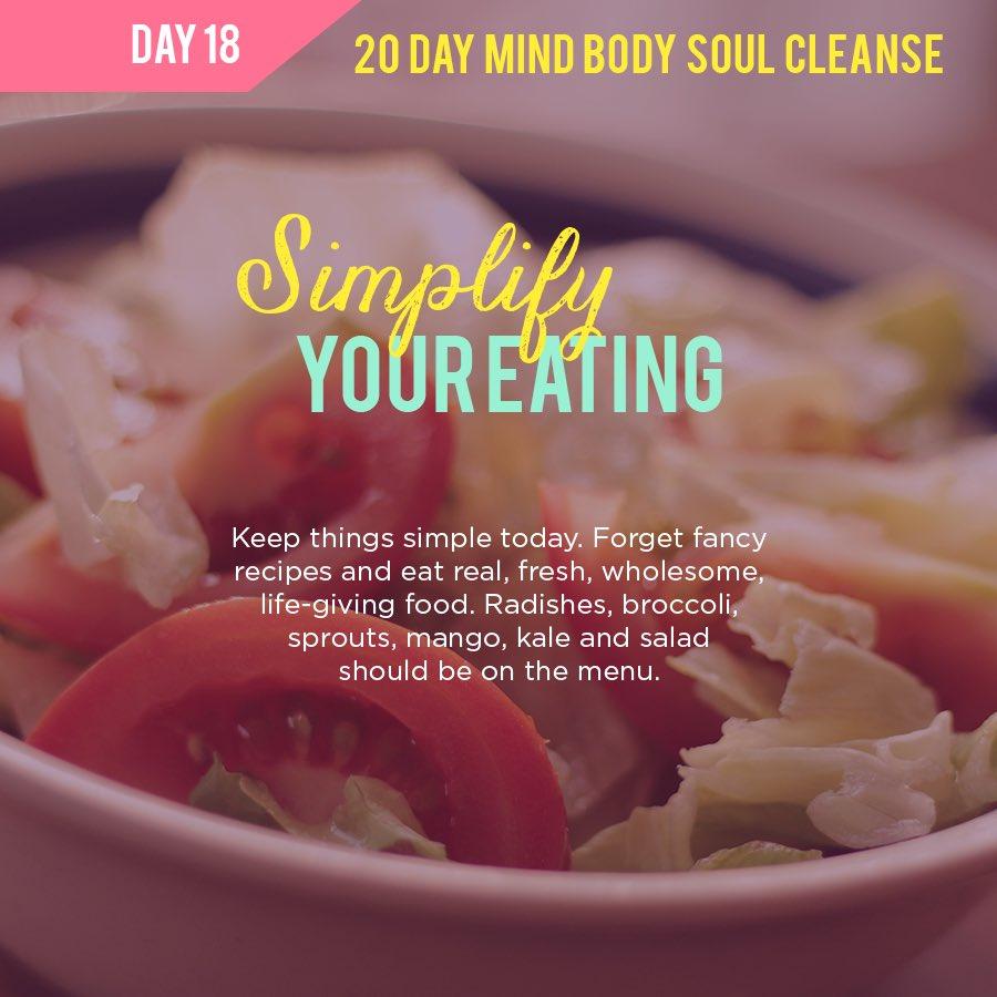 20 Day Mind Body Soul Cleanse Challenge  Day 18 - Simplify your eating.  https://t.co/0ME5lyLNw1   #yoga #yogainspiration #yogagirl #yogaeverydamnday #reiki #reikihealing #reikiusui #reikihealer #reikienergy #eft #efttapping https://t.co/l9ApNuAJs2