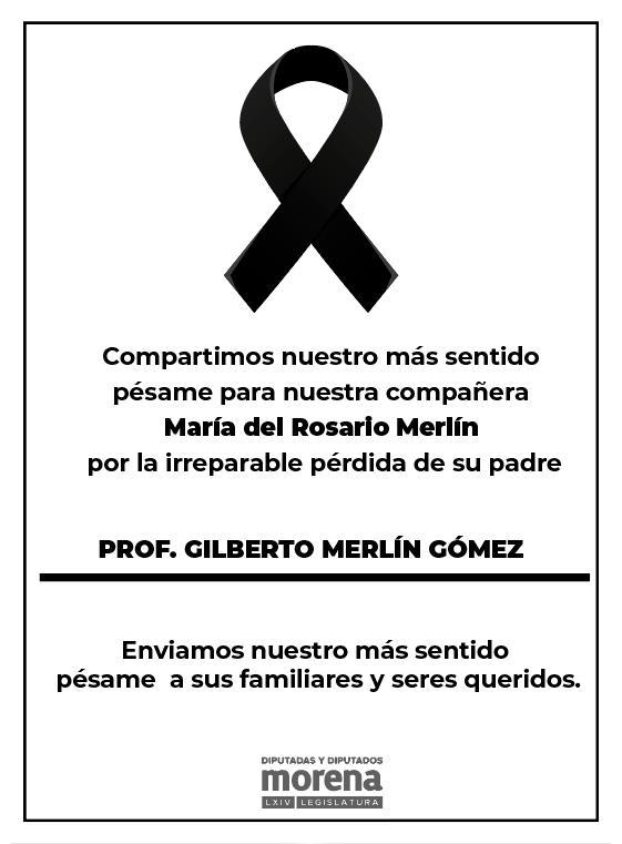 Lamento mucho el fallecimiento del Profesor Gilberto Merlín Gómez, padre de nuestra compañera Rosario Merlín. Mis más profundas condolencias para sus familiares y seres queridos. Un abrazo solidario https://t.co/3EsaER4ySd