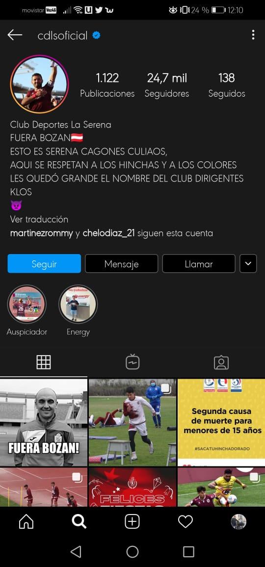 Hinchas de Deportes La Serena heckearon este martes el Instagram oficial del cuadro 'granate', pidiendo la salida del entrenador Francisco Bozán por el pobre andar del primer equipo en el Campeonato Nacional. https://t.co/soxC2BOXZ1