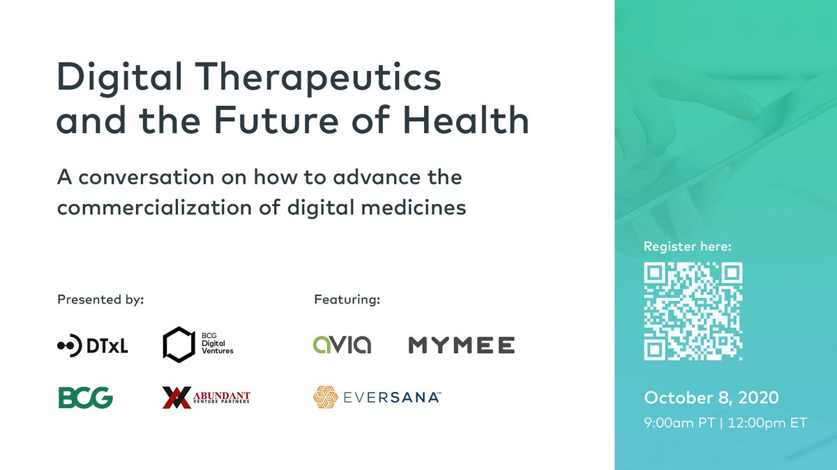 Curious to learn more about #digitaltherapeutics & the future of health? Join our co-hosted webinar w/ #DTxL & #AbundantVentures on October 8th w/ healthcare professionals from @BCG, @EVERSANAcompany, @mymeehealth & @HealthAvia!  Reserve your spot now: https://t.co/VisT32d2KU https://t.co/5Oi852mMJ9