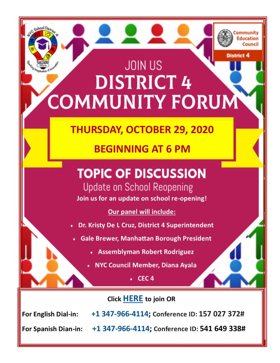 ATTENTION FAMILIES!! NEW DATE: District 4 Community Forum with our Superintendent Dr. Kristy De La Cruz and our elected officials: Gale Brewer, MBP; Diana Ayala, NYC Council Member; Assemblyman Robert Rodriguez, and CEC4 @phprepnyc @PSMS206M @ps155D4 @PS96ACT @KristyDeLaCru15 https://t.co/8DCPAOrOW7