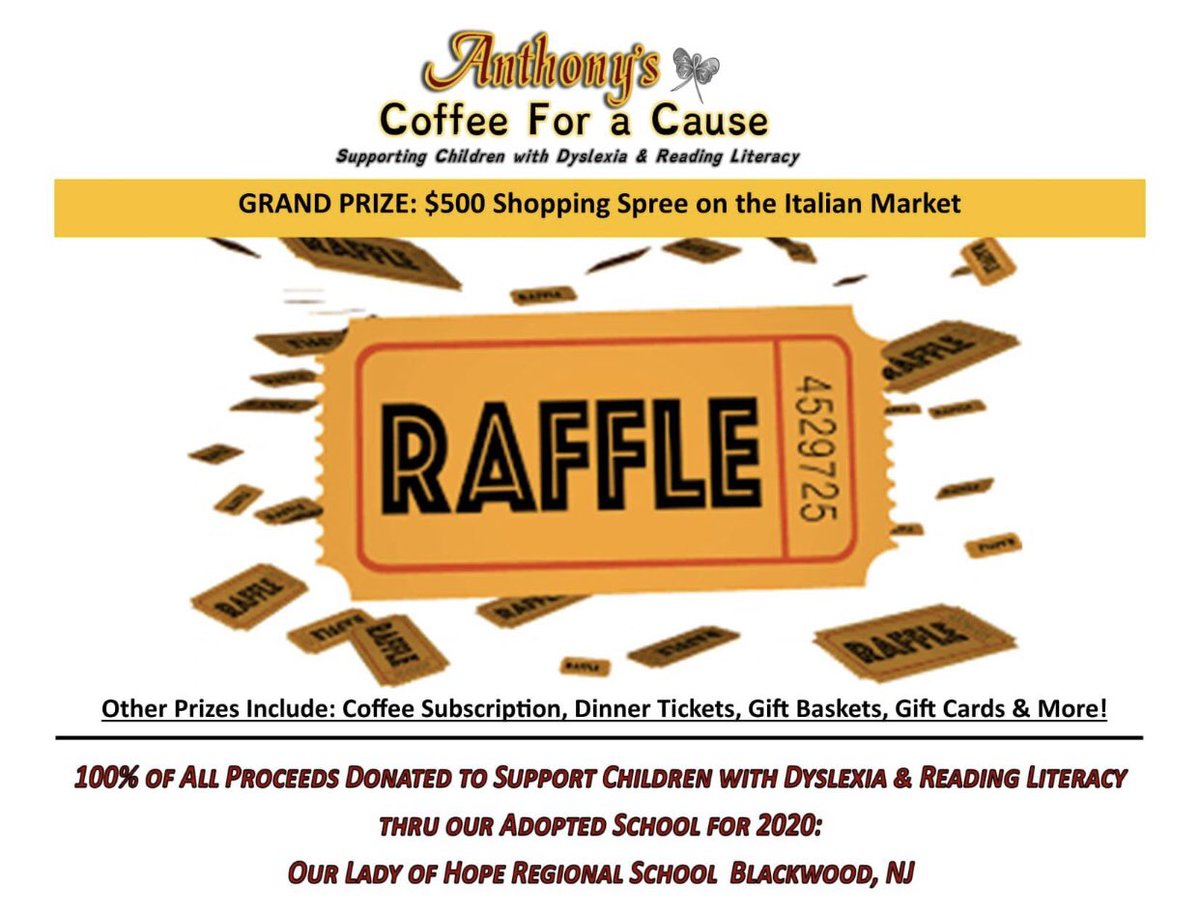 kicking-off Anthony's #coffeeforacause fundraising to support Children with Dyslexia Sat, 9/26 at our #NationalCoffeeDay Celebration!  Get Raffle Tickets to win $500 Shopping Spree #9thstreet #italianmarket.  100% Our Lady Of Hope Regional School.  Link:  https://t.co/1WJbce2Cfh https://t.co/NXWzJcLFUi