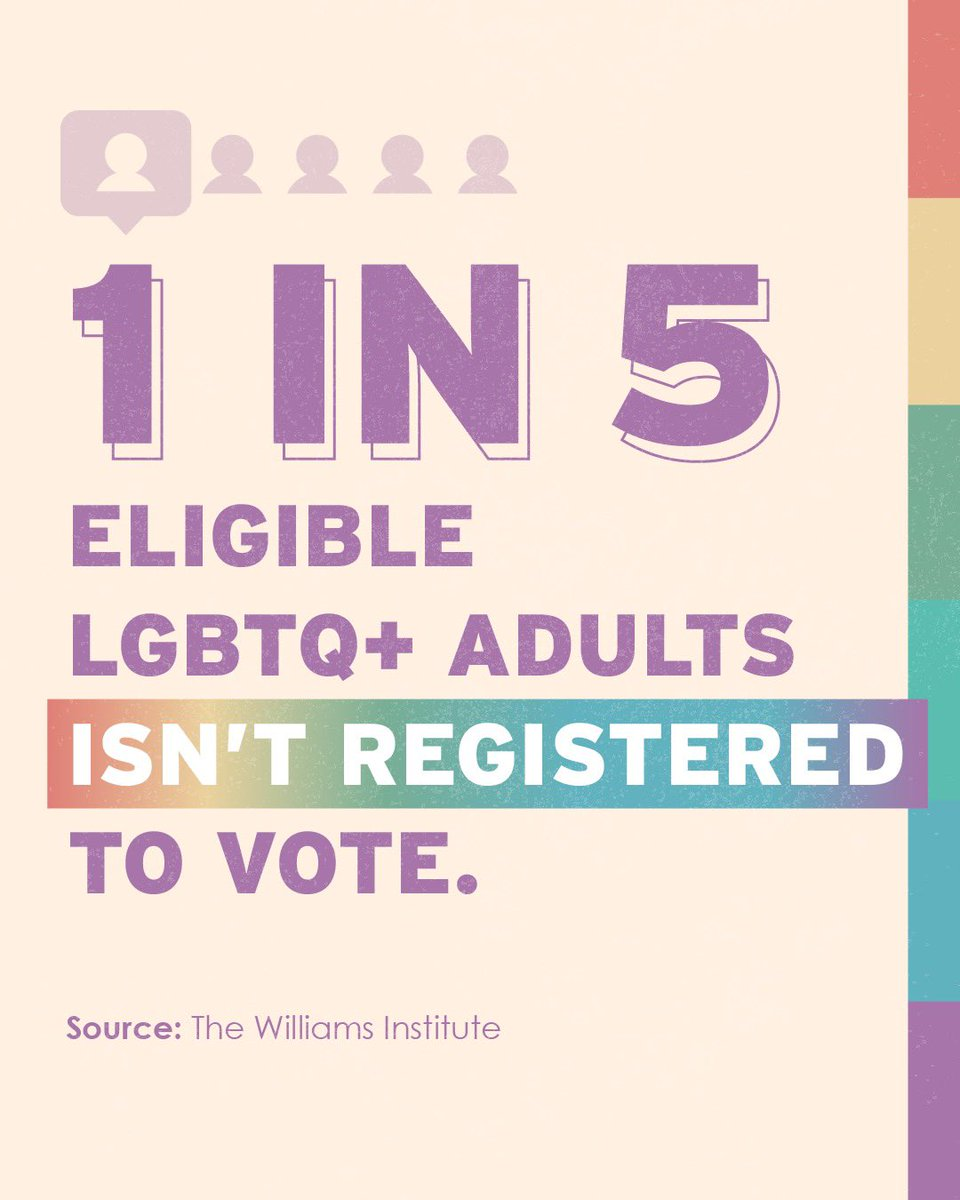 Today is #NationalVoterRegistrationDay - a particularly important day for our #LGBTQ+ community in the U.S. Register to vote now via @headcountorgs #VoteWithPride campaign, and learn more on the site about the best date to submit your mail in ballot. p2a.co/4ItUO1J