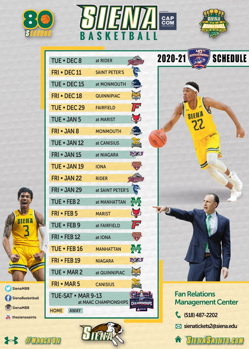 🗓️ 𝐌𝐀𝐑𝐊 𝐘𝐎𝐔𝐑 𝐂𝐀𝐋𝐄𝐍𝐃𝐀𝐑𝐒❗️  𝐂𝐇𝐄𝐂𝐊 𝐎𝐔𝐓 the 2⃣0⃣2⃣0⃣-2⃣1⃣ @MAACHoops schedule for defending #MAACHoops Champion @SienaMBB❗️   The 🏆 defense begins Dec. 8 at Rider  📰 https://t.co/a2eSoNn5JJ  #MarchOn #SienaSaints #MAAC40 #NCAAM https://t.co/kazNyAgRzW