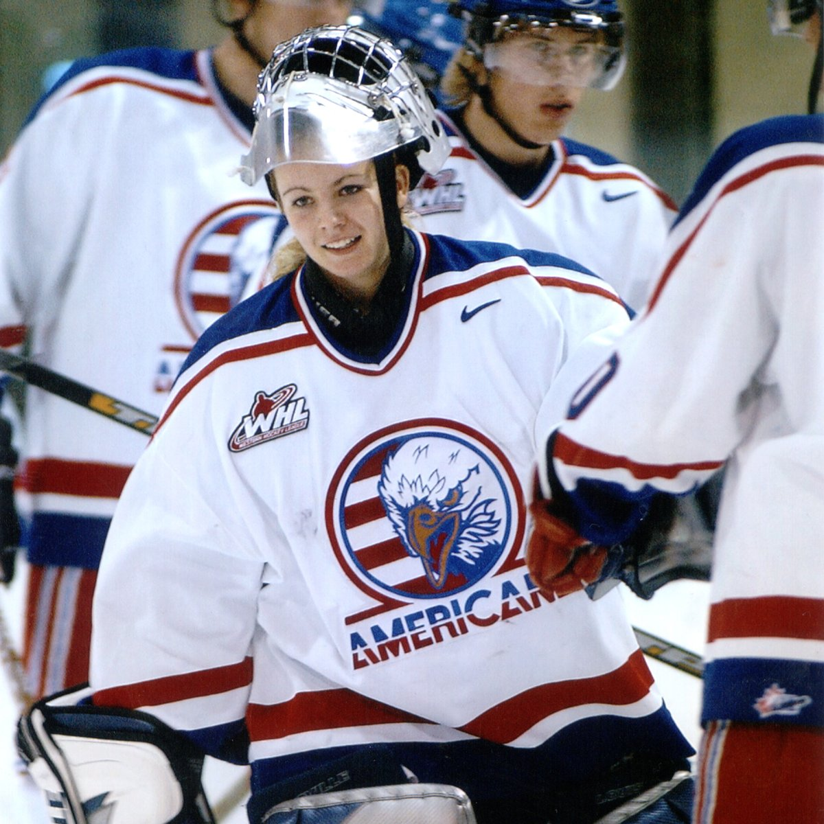 On this day 18 years ago, @ShannonSzabados became the first and only woman to play a @theWHL regular season game as she made a relief appearance for the Americans.  #AmsNation | #WomenInSports https://t.co/123MuzTBL8
