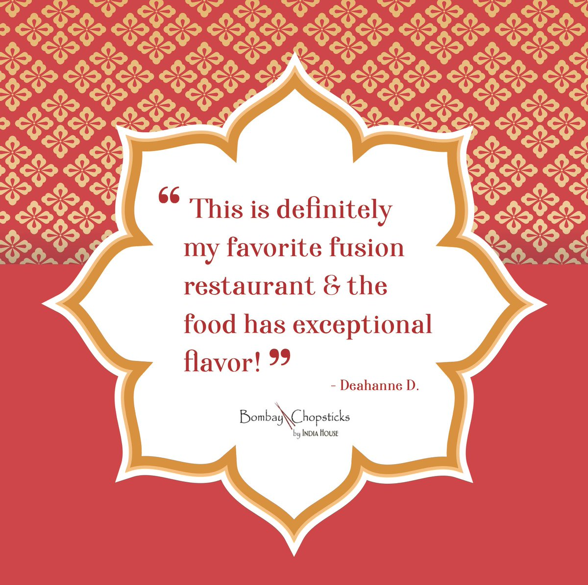"""""""Favorite fusion restaurant""""? WOWZA 😍  Thank you! ✨ We think you're pretty exceptional, too!  #bombaychopsticks #bombaychopsticksbyindiahouse #chicagorestaurants #Chicagoeats #Tuesday #HappyHour #Chopsticks #NapervilleIL #NapervilleBusiness #HoffmanEstatesIL #ChicagoEats https://t.co/L6y1OBwNl6"""