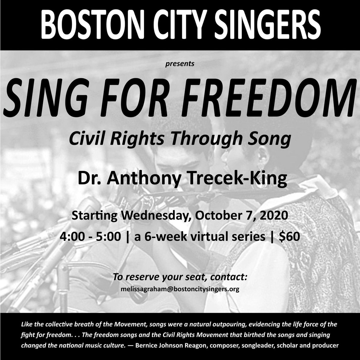 """Our electives start shortly!!! We welcome you to learn with us! """"Sing for Freedom"""" with Dr. Anthony Trecek-King, Wednesdays, 4 - 5 pm EST.  • • • #bostoncitysingers #bcs #singforfreedom  #elective #sing #learn #civilrights #choir #chorus #together #music https://t.co/Sfy6Kuk3s4"""