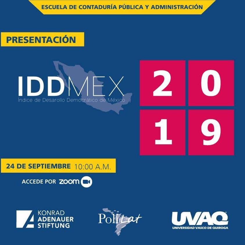 Presentación de los 📈📌resultados del #IDDMEX en el estado de Michoacán.   🗓 24 de septiembre ⏰10 h 🎥Transmisión por Zoom ✍️Registro: https://t.co/GgN2zsdbFo  #KASMéxico 🇩🇪🤝🇲🇽 @uvaq  #IDDMEX #másymejordemocracia #DesarrolloDemocrático https://t.co/3FLrKG3zPF