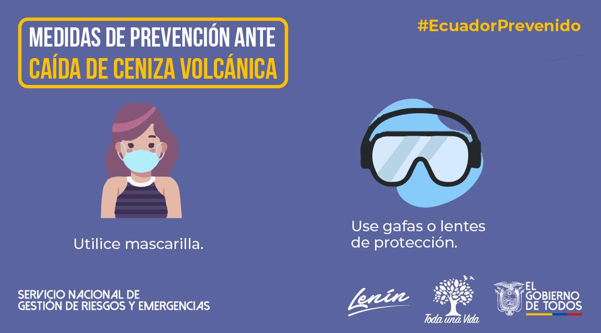 #EcuadorPrevenido | Ante la caída de ceniza por el proceso eruptivo del volcán #Sangay, use mascarilla y gafas protectoras para evitar que esta afecte las vías respiratorias y ojos. #JuntosEcuador https://t.co/LFzMgZ3uiv
