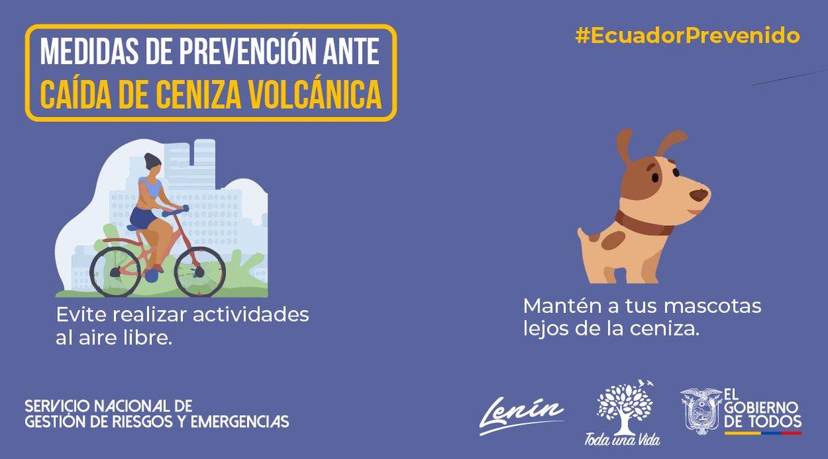 #EcuadorPrevenido | No realice actividades físicas al aire libre y no exponga a sus mascotas o animales a la ceniza del volcán #Sangay, ya que podría afectar su salud. #JuntosEcuador https://t.co/6ZHqUP54QI