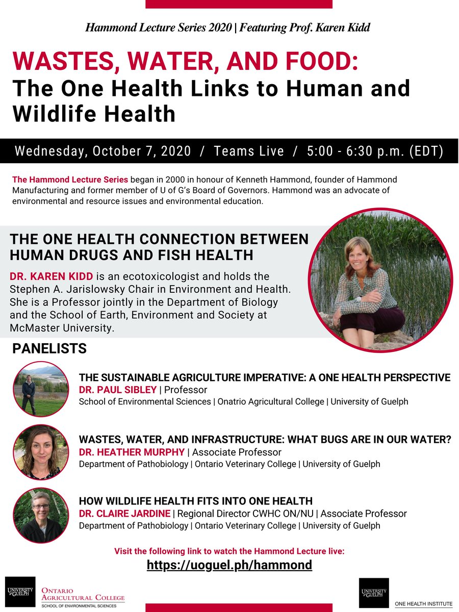@OneHealthUofG and @UofG_SES present the 2020 Hammond Lecture.  Everyone is invited to join and listen in!  📅 October 7, 5pm - 6:30 pm 🏠 Online. https://t.co/8DyGBPjMAv  ➡️https://t.co/HDrJS0Yxii  Please help us spread the word!  #UofG #OneHealth https://t.co/lQfjDBAsib