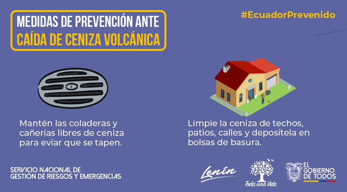 #EcuadorPrevenido | Evite hacer limpieza de la ceniza volcánica con agua ya que podrían tapar los sumideros y alcantarillas, recójala y deposítela en una bolsa plástica. #Sangay #JuntosEcuador https://t.co/QF1auuMUI1