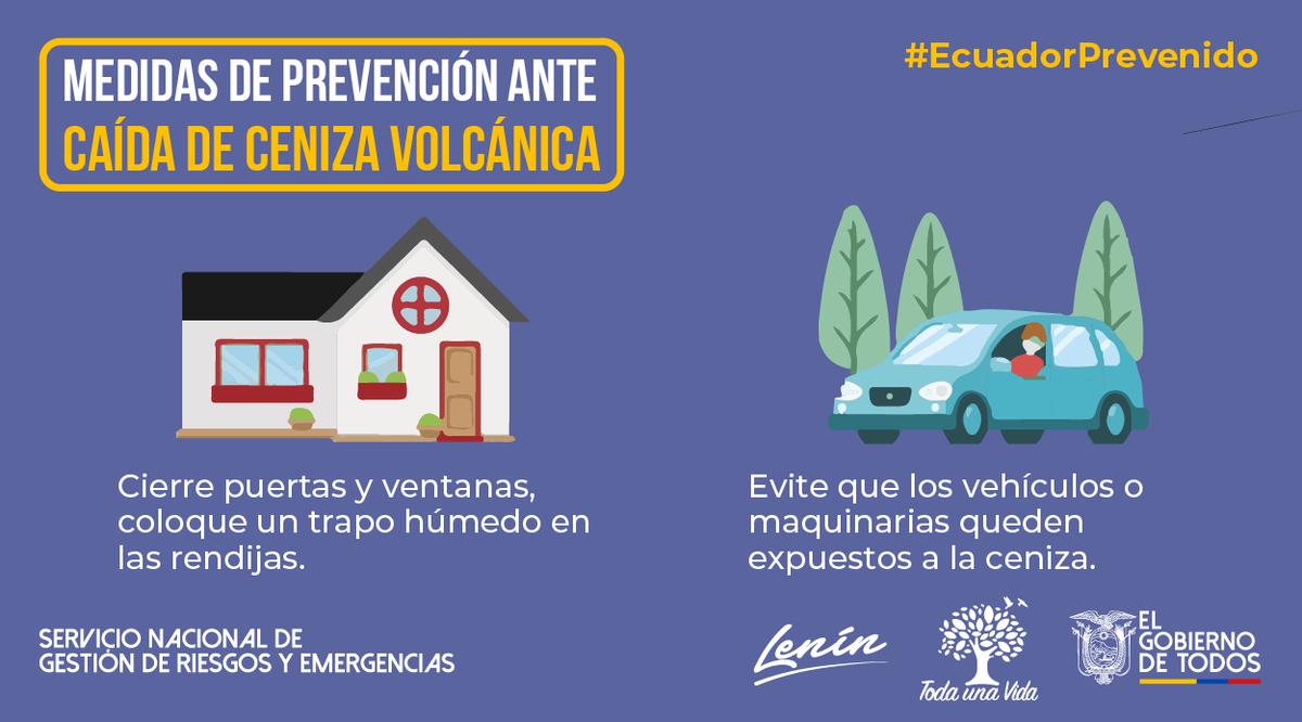 #EcuadorPrevenido | Para evitar que la ceniza volcánica ingrese a su hogar cierre puertas y ventanas, proteja sus vehículos para evitar daños en el motor. #Sangay #JuntosEcuador https://t.co/XSuwmb1PV4