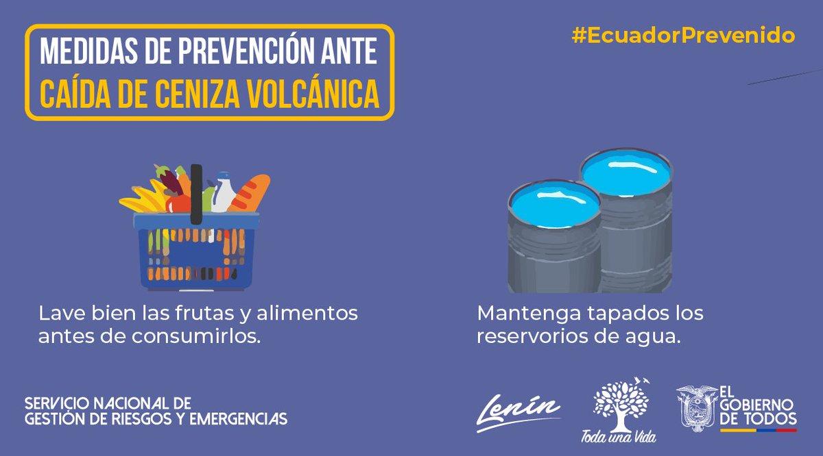 #EcuadorPrevenido | Para evitar afectaciones en la salud, lave bien las frutas y legumbres. También asegúrese que estén tapados correctamente los tanques o reservorios de agua potable. #Sangay #JuntosEcuador https://t.co/3KSDOXUxfj