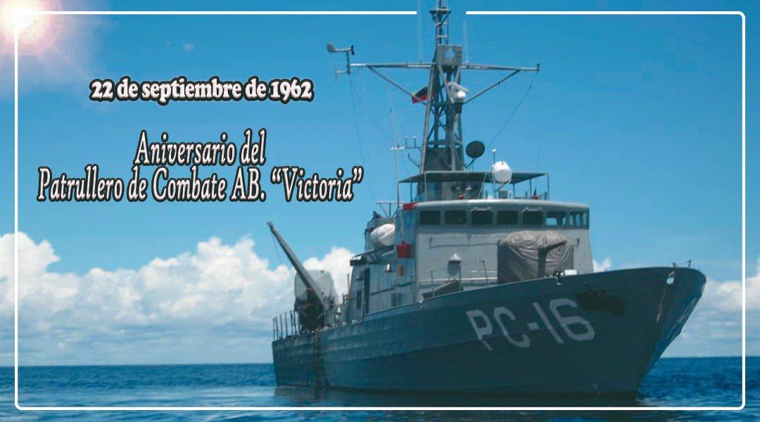"""El @ABVICTORIA_PC16 arriba a su 45° Aniversario después de haber navegado 367.057 MN resguardando nuestra Patria, en especial el Golfo de Venezuela ¡Felicidades a la dotación del Patrullero de Combate AB """"Victoria"""" (PC-16) en su aniversario! BZ, siempre avante en la mar... https://t.co/9O1ZZQqoJb"""