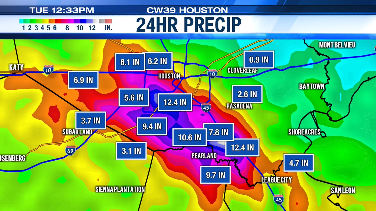 Flash Flood Warning is now extended until 4:30pm. We have seen 10 to 13 inches of rain over the last 24 hours. #TXwx #HOUwx @CW39Houston @maggiesworld https://t.co/w2HB1ysI6D